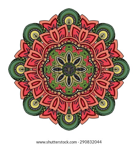Vector Beautiful Deco Colored Mandala, Patterned Design Element, Ethnic Amulet - stock vector