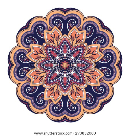 Vector Beautiful Deco Colored Mandala, Patterned Design Element, Ethnic Amulet - stock vector