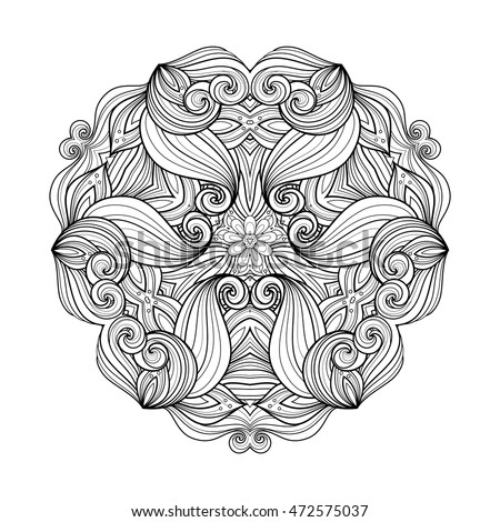 Vector Beautiful Deco Monochrome Triangle, Patterned Design Element, Original Mandala
