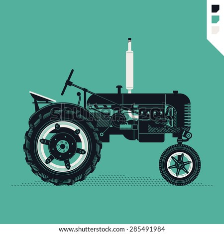 Vector beautiful detailed agricultural design element on retro farm field tractor. Ideal for organic and craft farming and grocery promotion materials like posters and other prints - stock vector