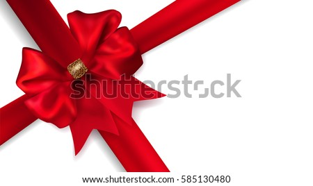 Vector beautiful diagonal red gift silk bow with transparent shadow isolated on white background