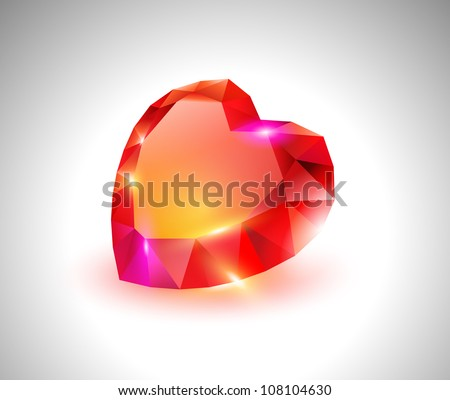 vector beautiful diamond heart - stock vector