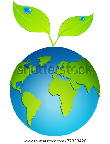Vector beautiful eco globe with leaves and water drops - stock vector