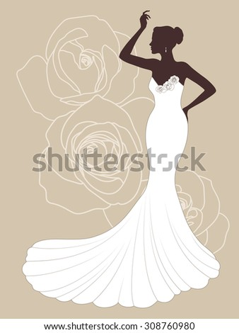 Vector beautiful elegant bride silhouette in a wedding dress with roses on the background. Dress salon or invitation design - stock vector