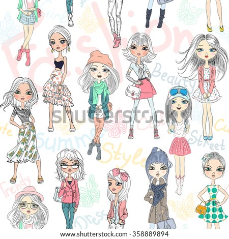 Vector beautiful fashion girls top models  - stock vector