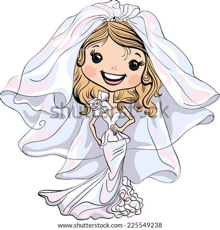 Vector Beautiful fashionable happy girl bride in her wedding dress - stock vector