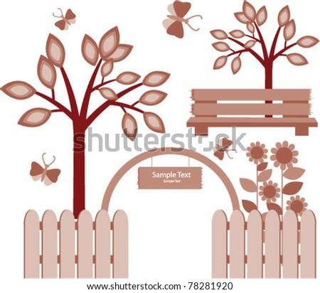 vector beautiful  garden - stock vector