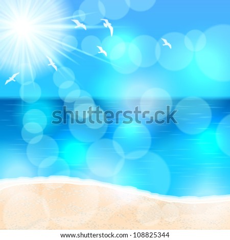 Vector beautiful glittering summer background illustration with ocean, beach and seagulls - stock vector