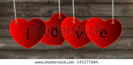 Vector beautiful glossy hearts. Looks like realistic glass. Icon and background. Clear and transparent. Valentine Day card. - stock vector