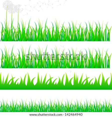 Vector beautiful grass set with dandelions - stock vector