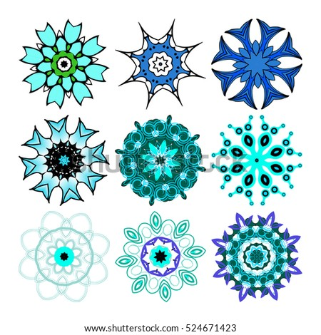 Vector beautiful ornamental rosettes set. For ethnic or tattoo design.