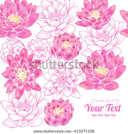 Vector beautiful pink water lily  flowers frame corner pattern . Invitation or greeting card design.Vector illustration