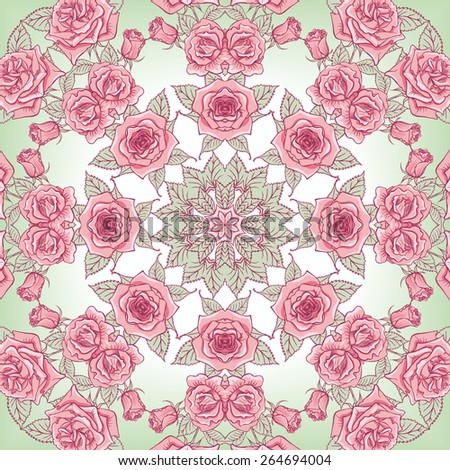 Vector Beautiful Roses Background. Floral Seamless Pattern with many details - stock vector