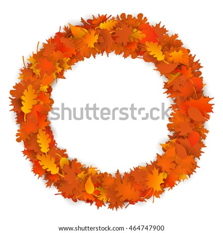 Vector beautiful round frame autumn leaves maple oak