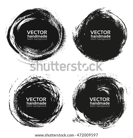 Vector beautiful round handmade black strokes- backgrounds painted by brush isolated on a white background