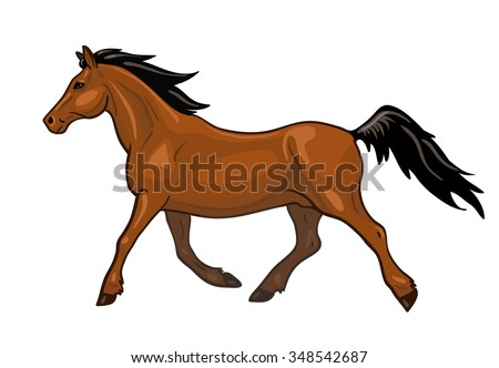 Vector beautiful running bay horse