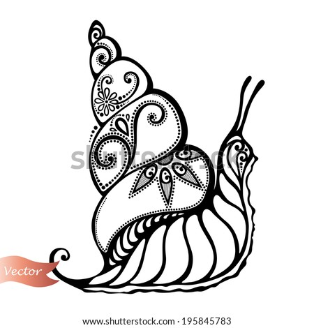 Vector Beautiful Snail, Exotic Insect. Patterned design, Tattoo