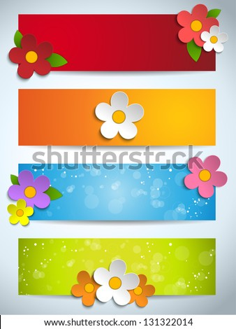 Vector - Beautiful Spring Flowers Set of Banners