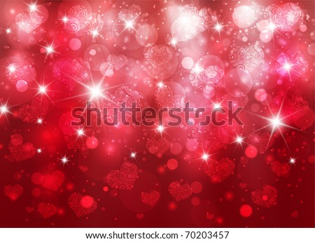 Vector beautiful valentine background with hearts and sparks eps10 - stock vector