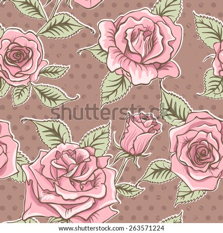 Vector Beautiful Vintage Roses Background. Floral Seamless Pattern - stock vector