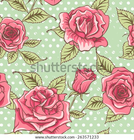 Vector Beautiful Vintage Roses Background. Floral Seamless Pattern