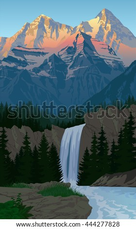 vector beautiful waterfall in evening mountains