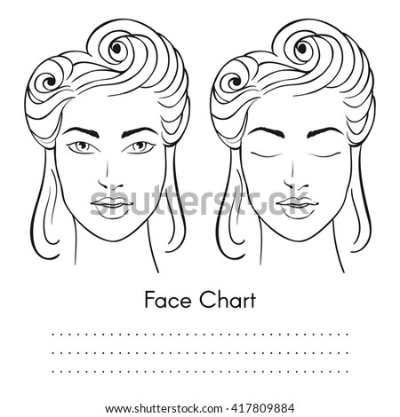 Vector beautiful woman face chart portrait stock vector 417809884 vector beautiful woman face chart portrait female face with open and closed eyes blank pronofoot35fo Gallery