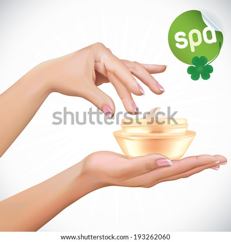 Vector Beautiful Woman Hands With Cream Jar Illustration, Icons, Button, Sign, Symbol, Logo, Sticker, for Family, Celebration, Health-care, People, SPA  - stock vector