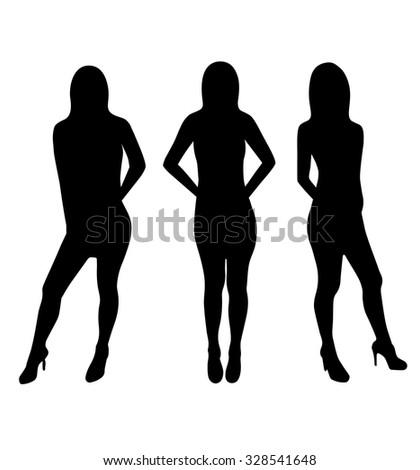 Vector beautiful woman silhouette et - stock vector