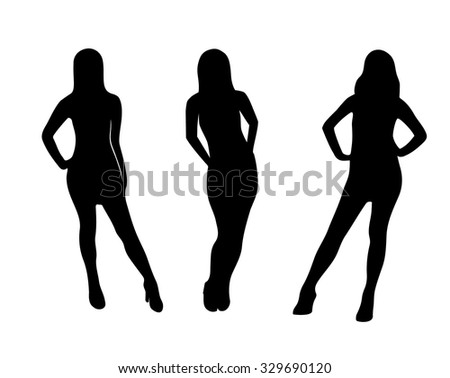 Vector beautiful woman silhouette set - stock vector