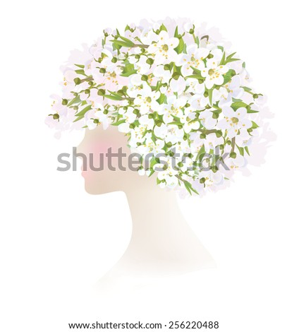 Vector beautiful  woman with  spring flowers on head. - stock vector