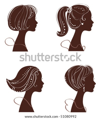 vector beautiful women and girl silhouettes - stock vector