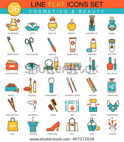 Vector Beauty and cosmetics flat line icon set. Modern elegant style design  for web. - stock vector