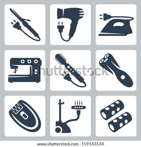 Vector beauty and garment care appliances: curling iron, hairdryer, iron, sewing machine, brush hair dryer , electric razor, epilator, vertical steamer, hair rollers - stock vector