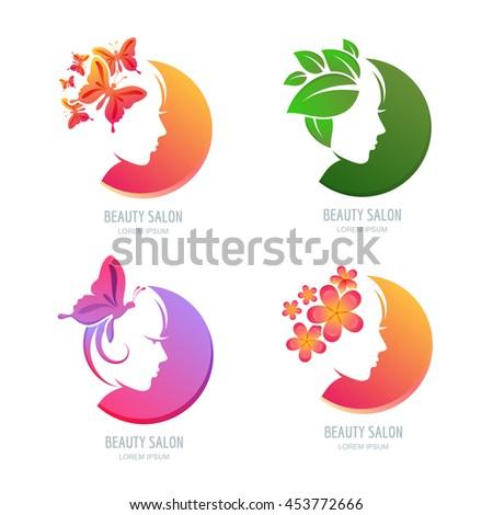 Vector beauty logo label set female stock vector 453772666 for Accesorios para salon de belleza