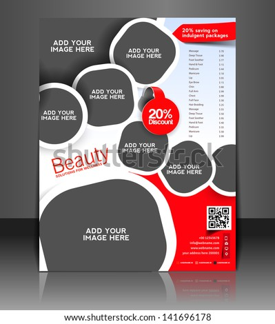 Vector beauty salon brochure, flyer, magazine cover & poster template - stock vector
