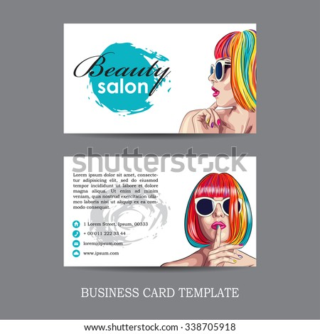 vector beauty salon card with woman wearing colorful wig. EPS - stock vector