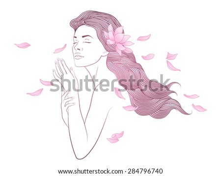 Vector beauty with lotus in her hair - stock vector