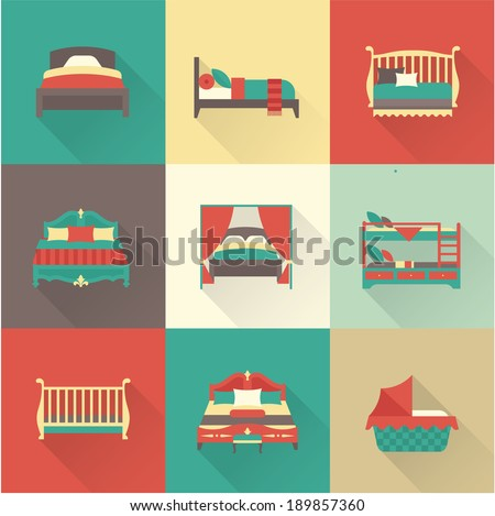 Vector bed icon set - stock vector