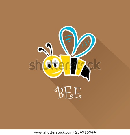 vector bee flat icon. cartoon cute bright baby bee on stylish brown background. vector illustration. - stock vector
