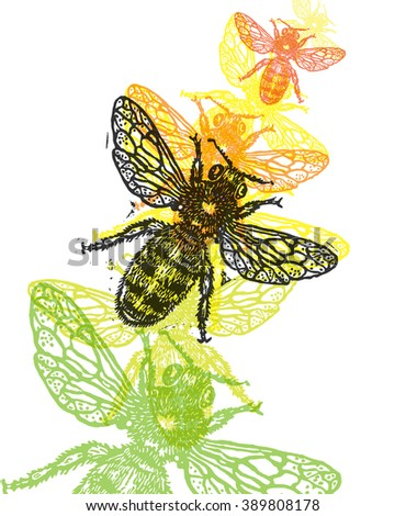 Vector bee in abstract composition. Linocut honeybee in flight in different colors on white background - stock vector