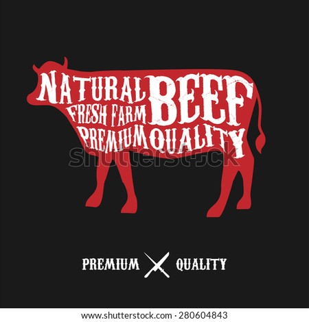 Vector Beef Cuts Diagram Vintage Style Stock Vector 280604843