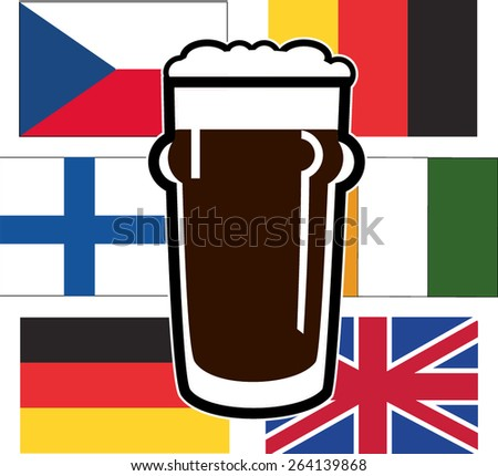 vector beer glasses on different national european flags - stock vector