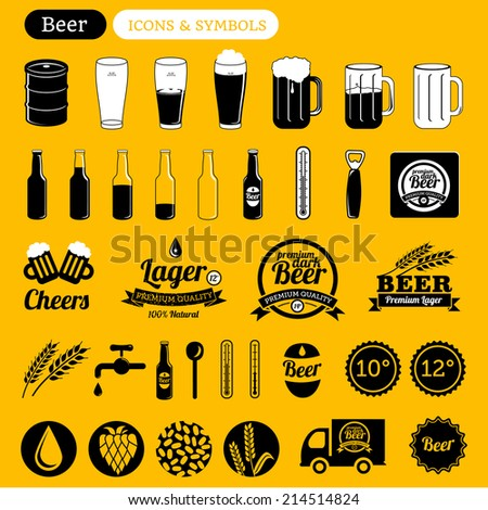 vector beer icons set, signs, labels & design elements - black & white on yellow - stock vector