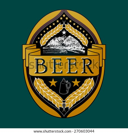 Vector Beer Label, decorated with a hand-drawn mountain and an old beer keg - stock vector