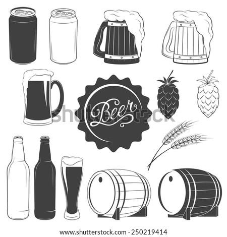 Vector beer monochrome icons set - can of beer, beer mug, beer glass, hops, wheat, beer bottle, barrel - stock vector