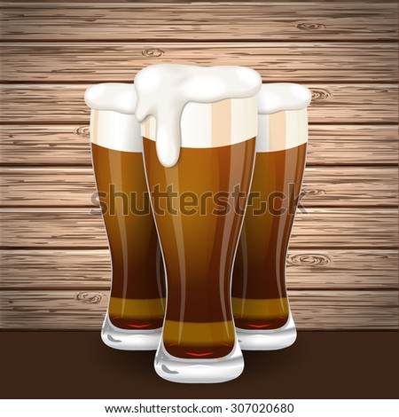 Vector beer mug glass on wooden plank background with shadow
