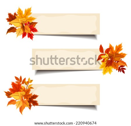 Vector beige banners with colorful autumn leaves. - stock vector