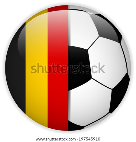 Vector - Belgium Flag with Soccer Ball Background - stock vector