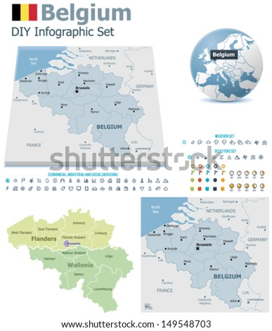 vector belgium political and administrative divisions maps belgium flag earth globe showing country location